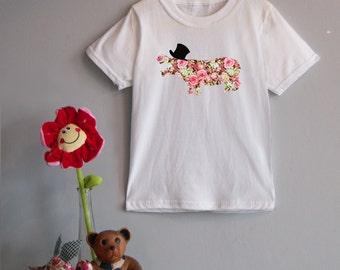 Floral Hippo Top Hat Children's Tee