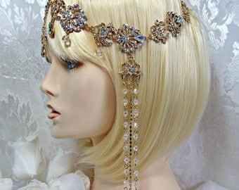 Great Gatsby Headpiece 1920s Roaring 20s Flapper, Aurora Borealis Crystal, Gatsby wedding, gatsby accessories, The Great Gatsby dress party