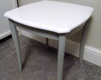 Occasional Side table upcycled in white and grey