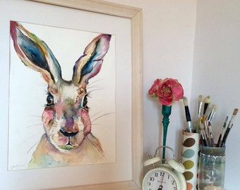 Spring - Watercolour Hare Print