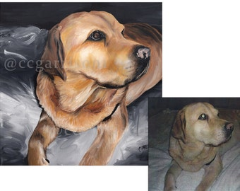 Custom Original Dog Pet Portrait Painted Canvas