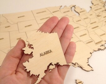 Wooden Usa Map Etsy - Usa map by state