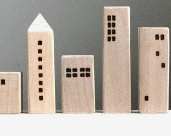 Wooden houses,Small wood house,Natural wood decoration,Modern home decor,Miniature village