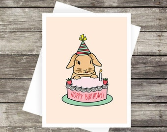 Hoppy Birthday! Greeting Card | Birthday Card, Blank Card, Bunny Card