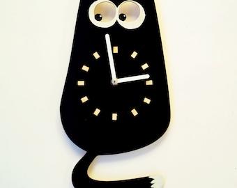 Wood Wall Clock, Black Cat - Wall clock for a children -  Wall Clock Oversized, Cat - Minimalist wall clock - Acrylic wall clock