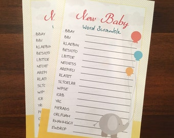 Word Scramble game for Baby Shower Games Package, Baby Shower Ideas, Baby Boy Games, Baby Girl Games, Baby Shower Activity, Baby Games