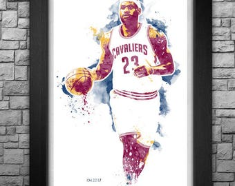 LeBRON JAMES watercolor style limited edition art print. Choose from 3 sizes!