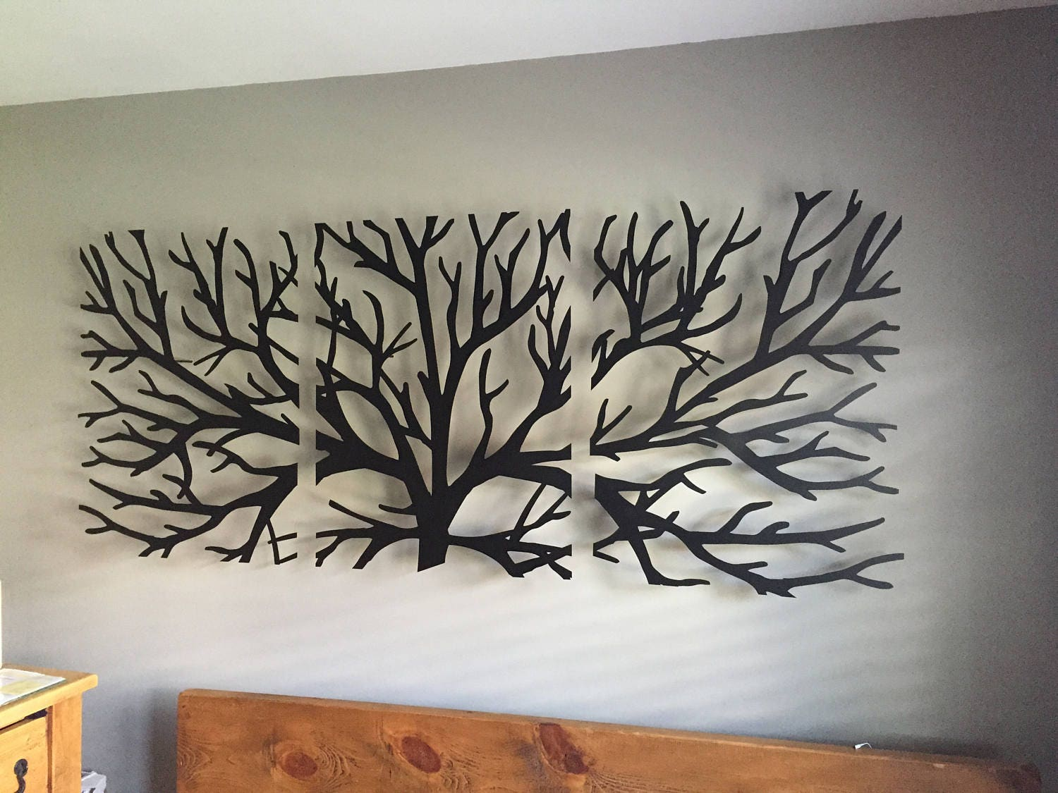 metal wall art decor 3d sculpture 3 piece tree brunch modern. Black Bedroom Furniture Sets. Home Design Ideas