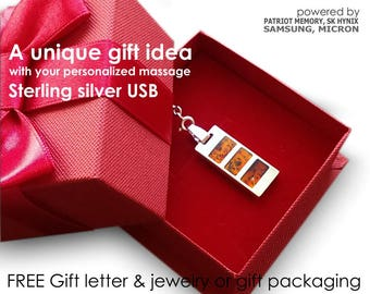 Unique Birthday Gift,Personalized Gift USB necklace 8~64GB,Silver-Amber,USB Pendant,Birthday Gift,Birthday gift for her,Anniversary Gift