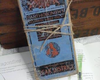 Vintage map,peak district map,old map,scrap booking,canvas map,bartholomews map,journaling,card making,craft map,map,vintage peak district