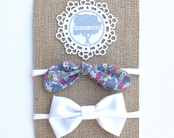 Set of Two Headbands - Floral Top Knot, White Bow