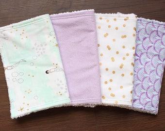 The Mermaid Bundle, burp cloths, burp cloth set, baby girl burp cloths, mermaid nursery, mermaid baby, lavender aqua nursery, baby gift girl