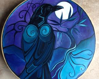 Custom - Raven Magic. Shamanic Drum