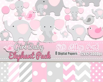 Girl Baby Elephant birds DIGITAL Pack, Grey Rose, Baby Shower Girl, Scrapbooking, Clip art Free, Elephant clip art, Baby girl Free