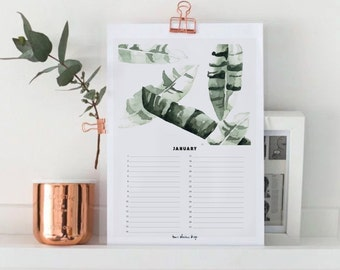Birthday Calendar - Month JANUARY - Perpetual - Instant Download