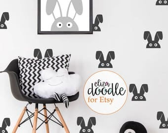rabbit wall decal / bunny stickers / rabbit superhero wall stickers / bunny bedroom / removable wallpaper / Vinyl Stickers / fake wal