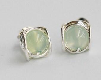 Stud Earrings, Apple green Agate Earring, Sterling Silver Earrings, Wire Wrapped Earrings, Light Green Earrings, Unique, Women Gift for Her