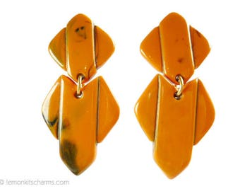 Vintage Large Orange Geometric Earrings, Jewelry 1980s, Plastic, Tribal Style, Clip On Style, Green Chunky Kitsch