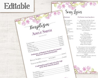 Baptism Program, Editable PDF, Printable Digital Handout Girl Baptism, Purple flowers, cherry blossom, Baptism Template
