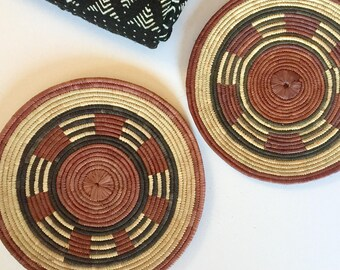 """One Nigerian, African basket // coiled, multi-color geometric pattern // wall basket // 12.75"""" round"""