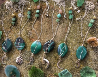 Moon goddess pendants in green banded agate, lovely psychedelic  patterns - all slightly different in design.