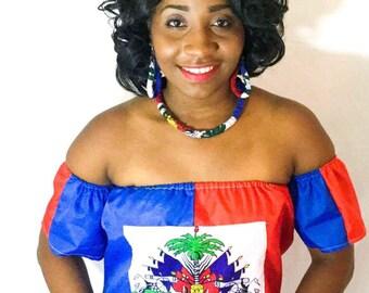 Haitian flag off shouder  top