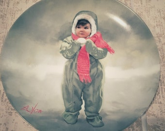 Vintage Winter Angel Wonder of Childhood 1984 Collector Plate by Donald Zolan