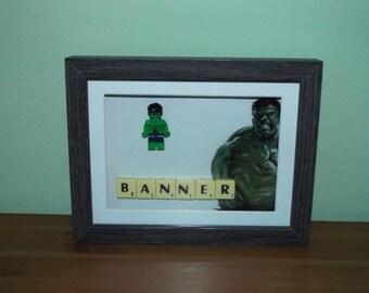 Bruce Banner as the Hulk Custom Lego Mini Figure and Scrabble tiles Framed