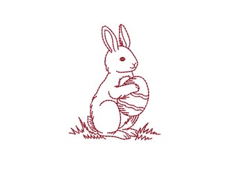 Easter Bunny - Easter Rabbit - Redwork Machine Embroidery Design. 2 sizes. Instant download