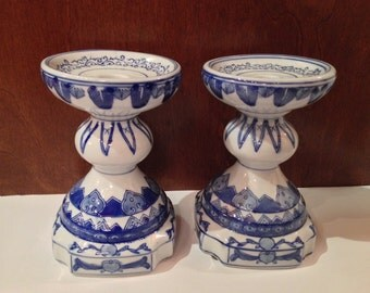 Pair of Vintage Chinese Candlesticks, Blue China Candleholders, Pottery