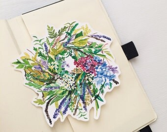 Flower Wreath Water Resistant Stickers, Flower Art, Iphone Stickers, Ipad, Water Resistant Stickers