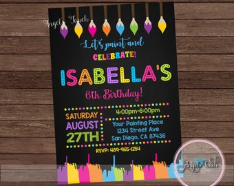 Painting Party Invitation, Painting Birthday Party Invitation, Art Birthday Party Invitation, Art Party Invitation, Digital File