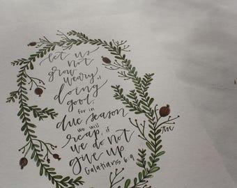 Let Us Not Grow Weary: Watercolor Art