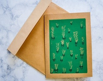 Potted Fern Greeting Card, Hand-stamped linocut on craft paper, Block print, 5x7 blank card