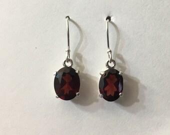Winter sale! 9x7 mm Garnet drop earrings in sterling silver