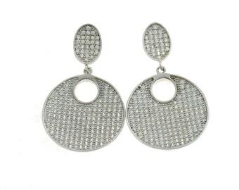zirconates hypoallergenic earrings 925 sterling silver plated white gold diameter 23 mm