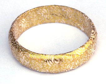 Gold bangle, flower jewelry, floral jewelry, shiny, bangle bracelet, wooden bangle, gift for women, statement bracelet, chunky gold bracelet