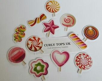 Lolly Stickers - Lolly pop Sticker set - 45 piece sticker set - Sugar rush stickers - Retro stickers - Holiday stickers - Scrapbooking