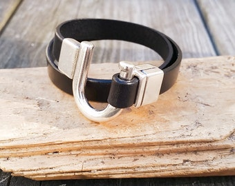 Black Leather Double Wrap, Silver Clasp