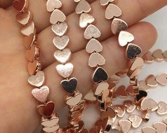 1Full Strand 6mm Hematite Heart Beads,Rose Gold  Hematite Beads For Jewelry Making