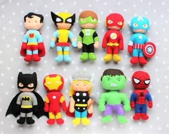 Superheroes (Batman, hulk, spiderman, superman, flash, thor, captain america, iron man, wolverine, flashlight)