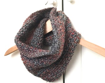 Crochet Cowl / Infinity Scarf / Neck Warmer / Cowl Scarf. Grey and Multi Coloured Cowl