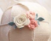 Newborn Headband, Mint, Blush, Pink, Ivory Headband, Felt Flower Headband, Vintage Inspired Headband, Pastel Headband, Nylon Gentle, Newborn