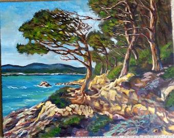"Original Oil Painting, Landscape-Pin Trees, 1705057, 16""x20"""
