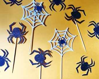 Spider Web Cupcake Toppers | Halloween Cupcake Toppers | Glitter Spider Cupcake Toppers | Party Cupcake Toppers