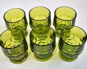 Set of 6 Anchor  Hocking Olive Green Glasses/Glassware