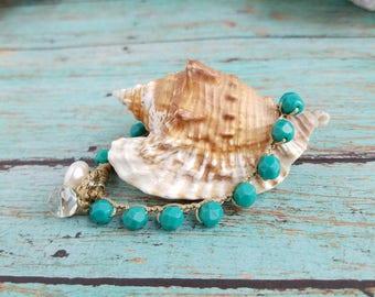 """Teal Beach Boho Crochet Bracelet, """"Calinda"""", Boho Chic Waterproof Bracelet, Teal, Turquoise, Surfer Girl Chic Crochet Bracelet"""