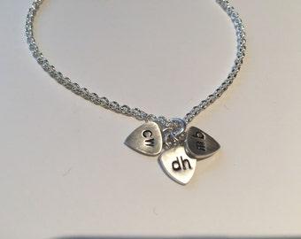 Skinny mini inital plectrums charm bracelet