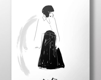 Woman in black and white - fashion illustration for special people, minimal, cool, home decor, wall decor, poster, print, stylish, fancy