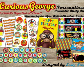 Curious George Customized Party Pack-Digital, Printable *You can SEPARATE this Kit and order individual items **PINK/PURPLE now Available!!
